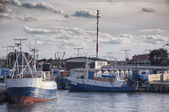 Fishing boats moored in the harbor — Stock Photo