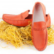 Pair of orange male shoes — Stock Photo #46051021