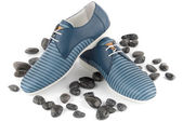 Blue male shoes — Stock Photo