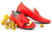 Pair of red male shoes — Stock Photo