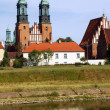 River Warta and Archicathedral Basilica in Poznan — Stock Photo