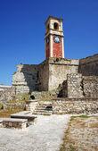 Clock tower in Palaio Frourio, city of Corfu — Stock Photo