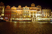 Old Market at night in Poznan — Stock Photo