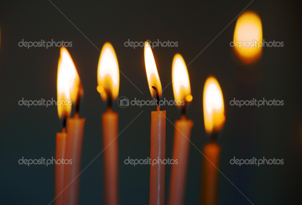 Candles in greek monastery, Corfu island in Greece — Stock Photo #13638002