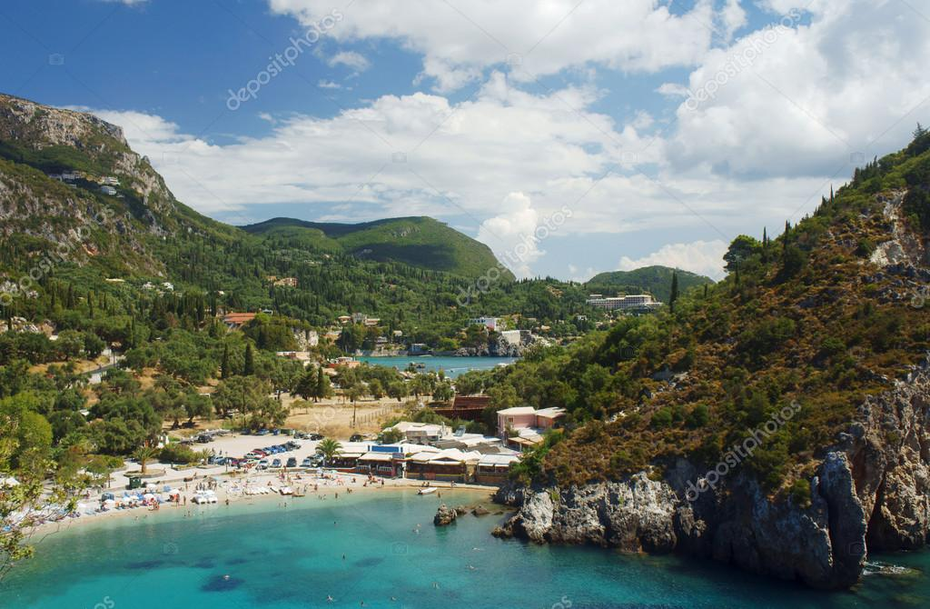View to bay and beach at Corfu island, Greece — Stock Photo #15423513