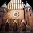 Gothic church at night in Poznan — Stockfoto #19429171