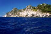 Rock on coast at Corfu island — 图库照片