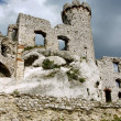 Stock Photo: Ruined medieval castle with tower in Ogrodzieniec