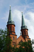 Gothic church towers in Pruszkow — Stock Photo