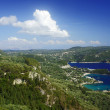 View to bay and beach at Corfu island - Stock Photo