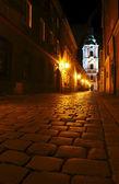 Calle iglesia de noche — Foto de Stock