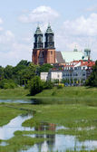 River Warta and Archicathedral Basilica — Stock Photo