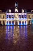 City Hall at night in Troyes — Foto de Stock