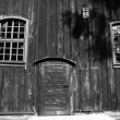 Stock Photo: Door and windows in wooden church