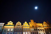 Houses on the market and the moon — Stock Photo