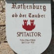 Plate showing the spitaltor in Rothenburg — Foto Stock