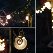 Beautiful garden in the night with old lamps — Stock Photo