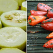 Grilling vegetables on pan — Stock Photo