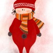 Illustrated cute little elf with scarf — Stock Photo