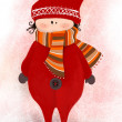 Illustrated cute little elf with scarf — Stok fotoğraf