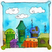 Illustrated cute city — Stock Photo