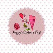 Romantic background with illustrated rose for valentine's day — Zdjęcie stockowe
