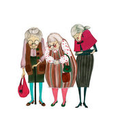 Illustrated cute old ladies — Stock Photo