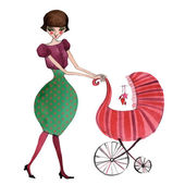 Illustrated mother with baby stroller — Stock Photo