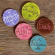 Badges with words smile, patience, love , passion — Stock Photo #22824394