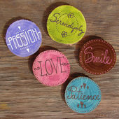 Badges with words smile, patience, love , passion — Stock Photo