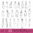 Vector set of hand drawn style illustration of beautiful fashion girls — Stock Vector #33110817