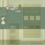 Vector elegant modern website template with illustrated little girl — Stock Vector