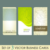 Vector set of elegant fresh business cards with leaves — Stock Vector