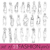 Vector set of hand drawn style illustration of beautiful fashion girls — Stock Vector