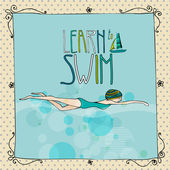 Illustration of a young girl swimming — Stock Photo