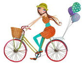 Girl on bicycle — Stock Photo