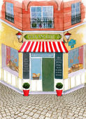 Illustrated beautiful street with french bakery — Stock Photo