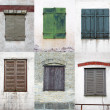 Collage of rustic windows — Stock Photo