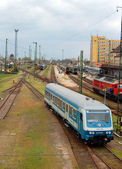 Train station with old railways — Stock Photo