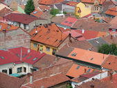Urban scene across built up area showing roof tops — Stock Photo
