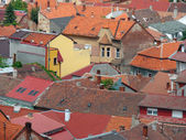 Urban scene across built up area showing roof tops — Foto Stock