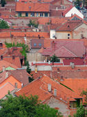 Urban scene across built up area showing roof tops — Photo
