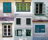 Collage with beautiful rustic windows — Stockfoto