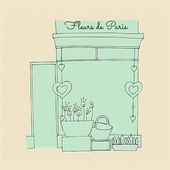 Illustrated cute flower shop — Stock Photo