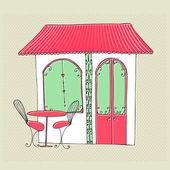 Ilustrace roztomilé pouliční kavárny — Stock fotografie
