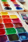 Watercolor paint in box — Foto Stock