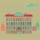 Illustrated School building  — Stock Photo