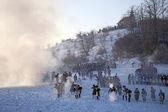 Botsing van legers, de slag bij austerlitz, slavkov, tvarozna, tsjechië — Stockfoto