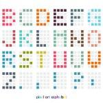 Pixel art alphabet font in pastel colors — Stock Vector #24392021