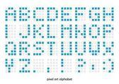 Pixel konst alfabetet teckensnitt — Stockvektor